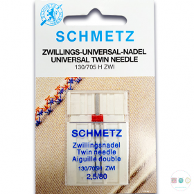 Schmetz - 2.5mm - Universal Twin Needle - 1 pack - Uncarded