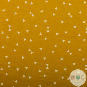 Triangles On Mustard -  Upholstery - Ottoman Print - Medium Weight - Cotton Mix - Bag Fabric