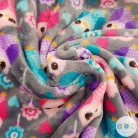 Owls On Grey Super Soft  - Flannel Extra Cuddle Soft Minky Style - Fleece Fabric