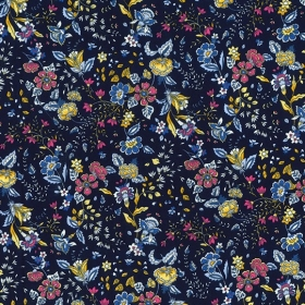 Paisley Style Floral On Navy Cotton Poplin Fabric