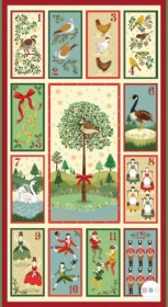 12 Days Of Christmas - Cotton Fabric Panel - by Makower - Patchwork & Quilting