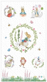 Peter Rabbit - Cotton Fabric Panel - Beatrix Potter by Frederick Warne & Co - Visage Textiles