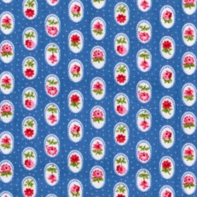Blue with Roses on White Doilies Material - Cotton Poplin Fabric by Rose and Hubble