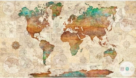 Wanderlust - World Map Fabric Panel - QT 26726 X - Vintage Travel  by Dan Morris for Quilting Treasures - Patchwork & Quilting