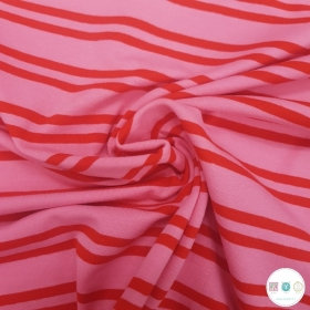 Red & Pink - Double Stripe - Cotton Stretch Jersey -220gr/m2 - Dressmaking Fabric