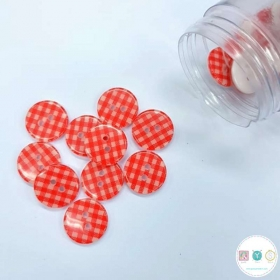Red Gingham - 12mm - 2 Hole - Flat - Sew-Through - Plaid - Button - Haberdashery