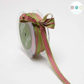 Pink Dots On Green Ribbon - Double Sided - Reversible - Sewing Trim & Crafts - Price per yard