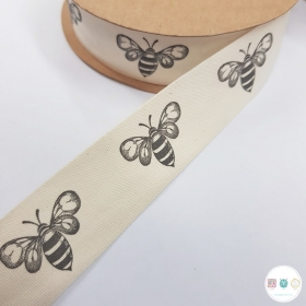 25mm Bumble Bee - Cotton Tape - Ribbon - Trim - Haberdashery