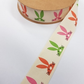 25mm Bunny Rabbits - Cotton Tape - Ribbon - Trim - Haberdashery