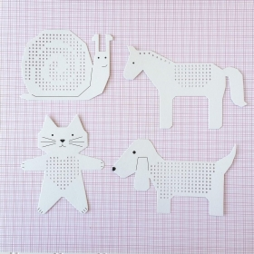 Paper Poetry Embroidery Boards - Cat, Dog, Snail, Horse