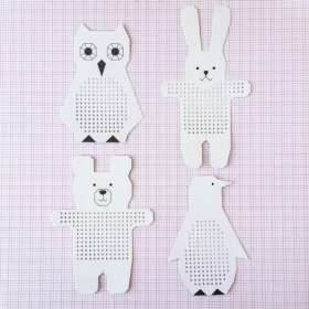 Paper Poetry Embroidery Boards - Owl, Penguin, Rabbit & Bear