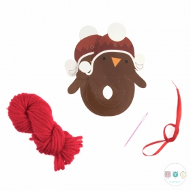 Pom Pom Decoration Kit - Christmas Robin - Pack of 4 - Kits and Gifts