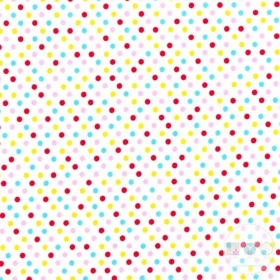 Colour Dots On Plain White Material - Cotton Poplin Fabric by Rose and Hubble