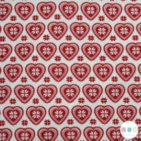 Scandi Hearts - Christmas - Cotton Poplin Fabric - by Rose & Hubble - Craft & Dressmaking