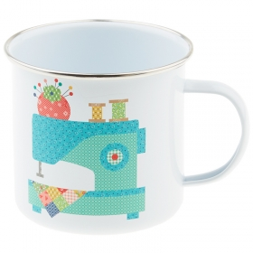 Gift Idea -  Riley Blake Vintage Happy Sewing Enamel Mug