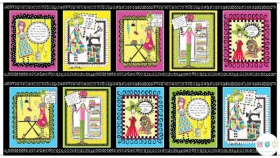 Sew Sassy Panel - Sewing Theme - Cotton Fabric Panel - by Joey Heiberg for Quilting Fabrics - Patchwork & Quilting