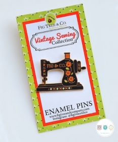 Retro Sewing Machine Enamel Pin - by Fig Tree & Co - Sewing Theme Gifts