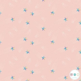 Out Of This World - Shooting Stars - by Andrea Turk for Camelot Fabrics - Blush Pink Cotton - Patchwork & Quilting