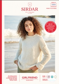 Sirdar 10054 - Girlfriend Ladies Textured Sweater - Chunky - Knitting Pattern