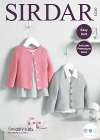 Sirdar 5220 - Baby's V Neck & Round Neck Cardigans in Snuggly 4 Ply - Knitting Pattern
