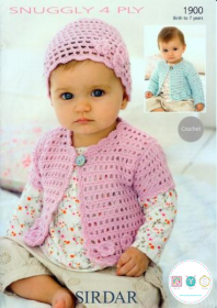 Sirdar 1900 - Baby Cardigans & Hat in Snuggly 4 Ply - 0-7 years - Crochet Pattern