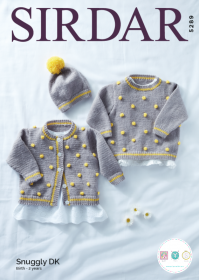 Sirdar 5289 - Babies Cardigan, Sweater & Hat in Snuggly DK Pattern