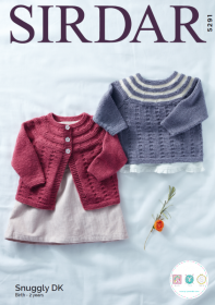 Sirdar 5291 - Babies Cardigan & Sweater in Snuggly DK - Knitting Pattern