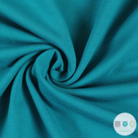 Turquoise - Teal Blue - Solid Colour Cotton Jersey Fabric - By Stenzo - Dressmaking
