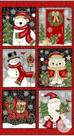 Winter Greetings Christmas Fabric Panel - Cotton - By Sharla Fults for Studio E - Patchwork & Quilting