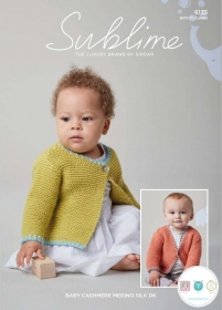 Sirdar Sublime 6135 - Baby's Cardigans in Baby Cashmere Merino Silk DK - Knitting Pattern