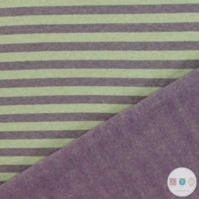Pastel Green & Purple Stripe Melange Sweat Fabric - 2 Sided -  Stretch Fleece Style Jersey - Dressmaking Textiles