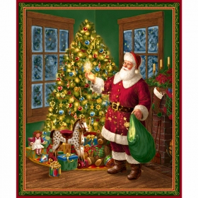Traditional Santa by the Christmas Tree - Cotton Fabric Panel - by Liz Goodrich Dillon for Quilting Treasures