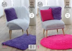 King Cole 5050 Blankets, Cushions and Rugs in Tufty Chunky - Knitting Pattern