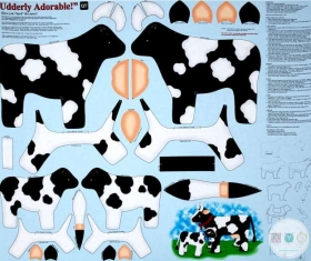 Udderly Adorable Cow Softie - Craft Fabric Panel - Sew and Go - by Quilting Treasures