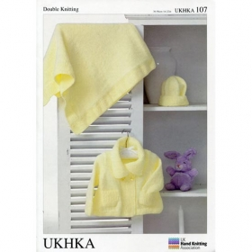 DK Baby Jacket, Hat And Blanket Knitting Pattern - UKHKA 107