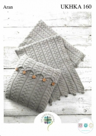 Aran Cushion & Blanket Knitting Pattern - UKHKA 160