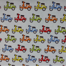 Vespa Motorcyle - Moped Bike - Cotton Poplin Fabric by Rose & Hubble - Patchwork & Quilting