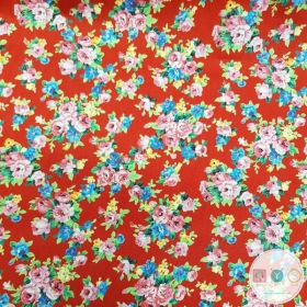 Vintage Floral On Red - Cotton Poplin Fabric by Rose and Hubble - Craft & Dressmaking