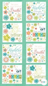 Well Said Fabric Panel - Inspirational Life Quotations - Text - Script - by Sandy Gervais for Moda Fabrics - Patchwork & Quilting