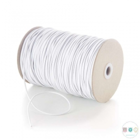 3mm Thick White Round Elastic - Hat Elastic - Millinery - Dressmaking
