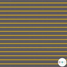 Grey and Mustard Stripe - Cotton Jersey - 230gm/2 - Dressmaking Fabric