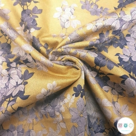 Ochre Yellow Gold Flowers - Scuba Suede Puff - Polyester Stretch Dress Fabric - Dressmaking