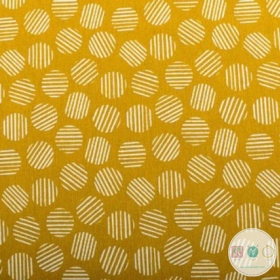 Dots on Mustard - Medium Weight Canvas Fabric - Cotton Mix - Bag Fabric - Canvas