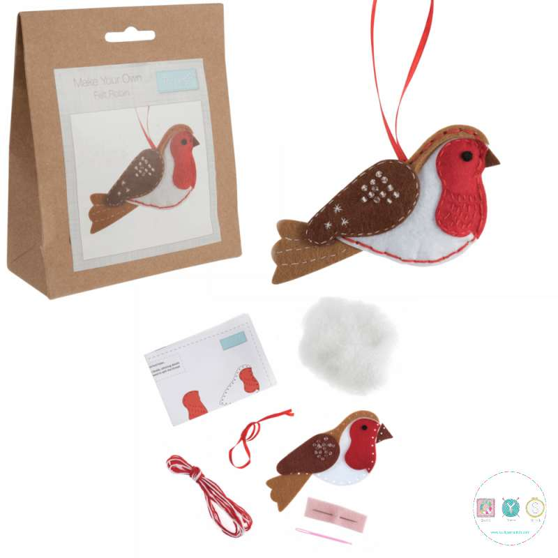 Gift Idea - Make Your Own Felt Robin Ornament- Christmas Tree Decoration - Beginners Festive Crafty Childrens Kit - by Trimits