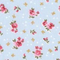 Vintage Ditzy Flowers On Sky Blue Cotton Poplin Fabric
