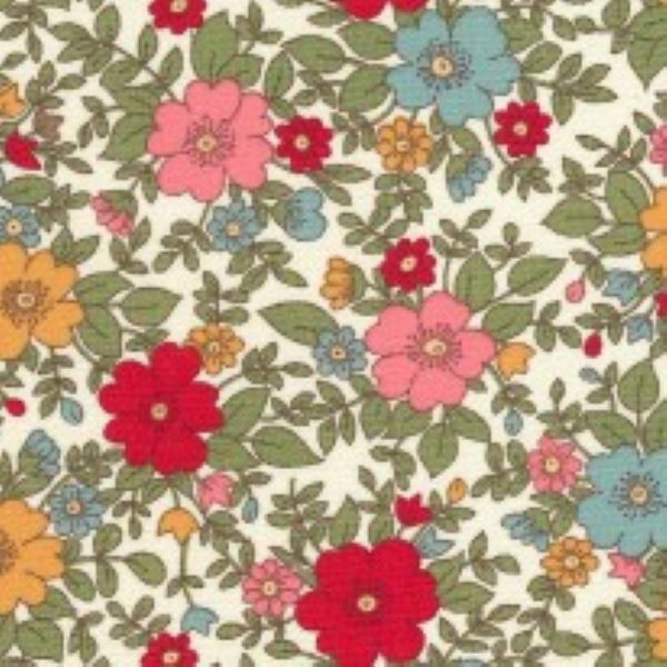 Vintage Red Flowers On Cream by Rose and Hubble
