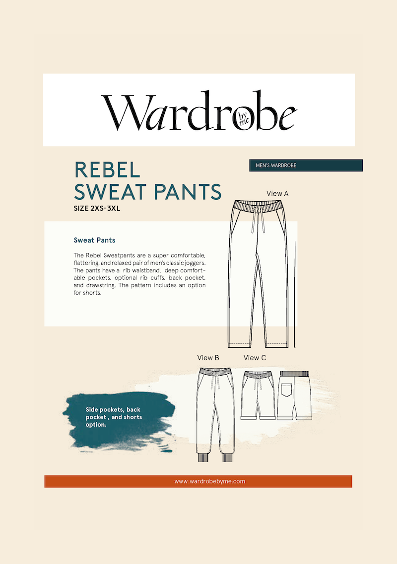 Wardrobe by Me - Rebel Mens Sweat Pants Sewing Pattern