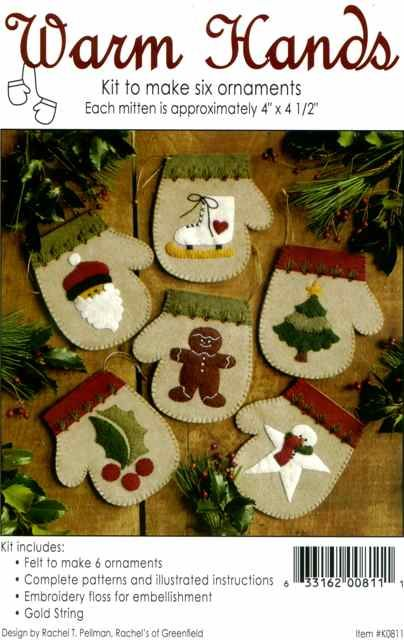 Gift Idea - Warm Hands Wool Felt Ornament Kit by Rachel's of Greenfield
