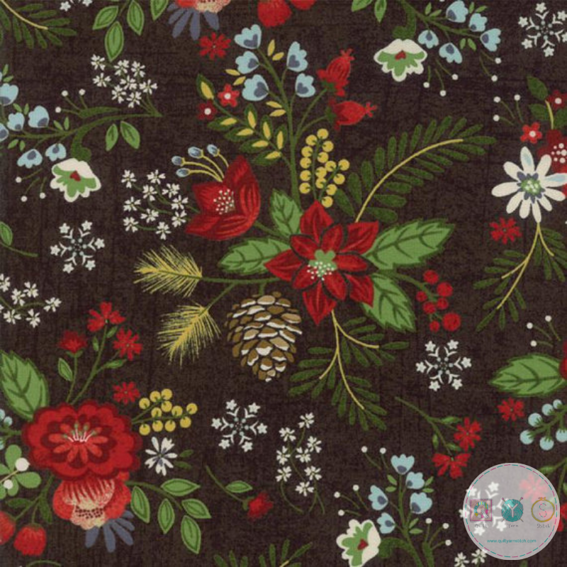 Winter Village - Christmas Poinsettia Floral Fabric - by BasicGrey for Moda - Patchwork & Quilting