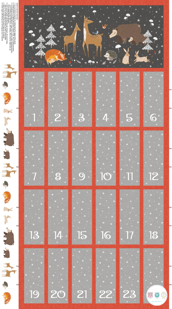 Winterland - Christmas Advent Calender - Fabric Panel - by Antoana Oreski for Northcott - Patchwork & Quilting